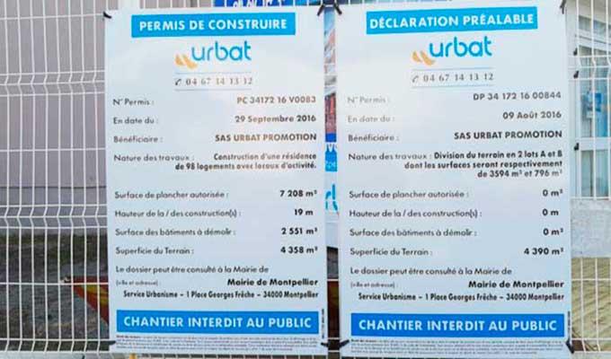 Pancarte permis de construire cool panneau permis de dmolir lot de taliaplast with pancarte - Panneau affichage declaration prealable ...