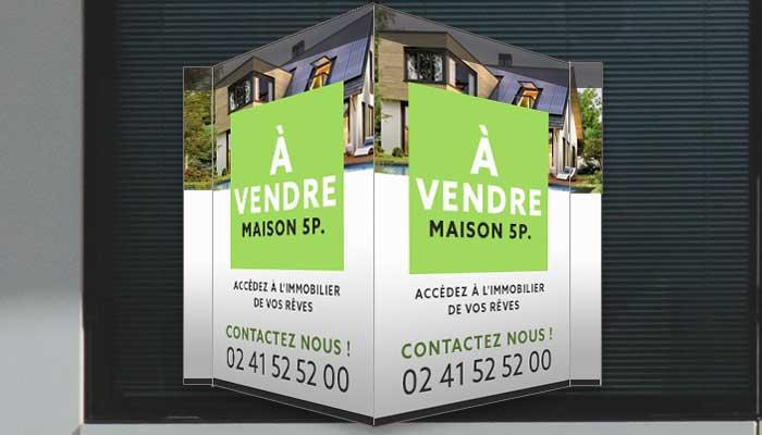 Panneau immobilier en V avec pattes de fixation adhésif double face pour fenêtre
