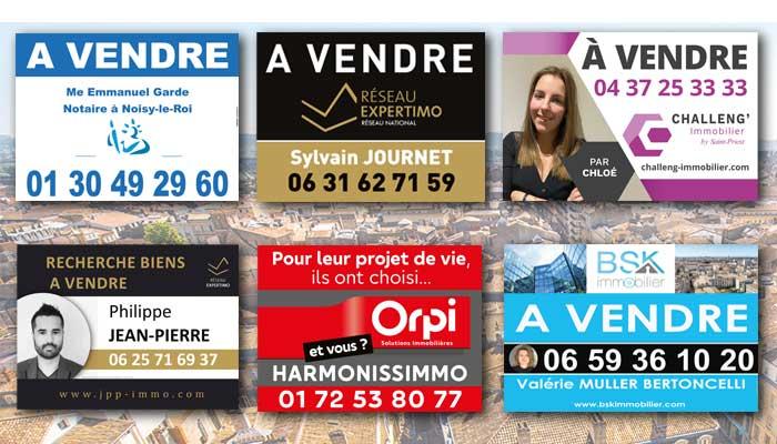 Panneau publicitaire immobilier - exemples de visuels personnalisés