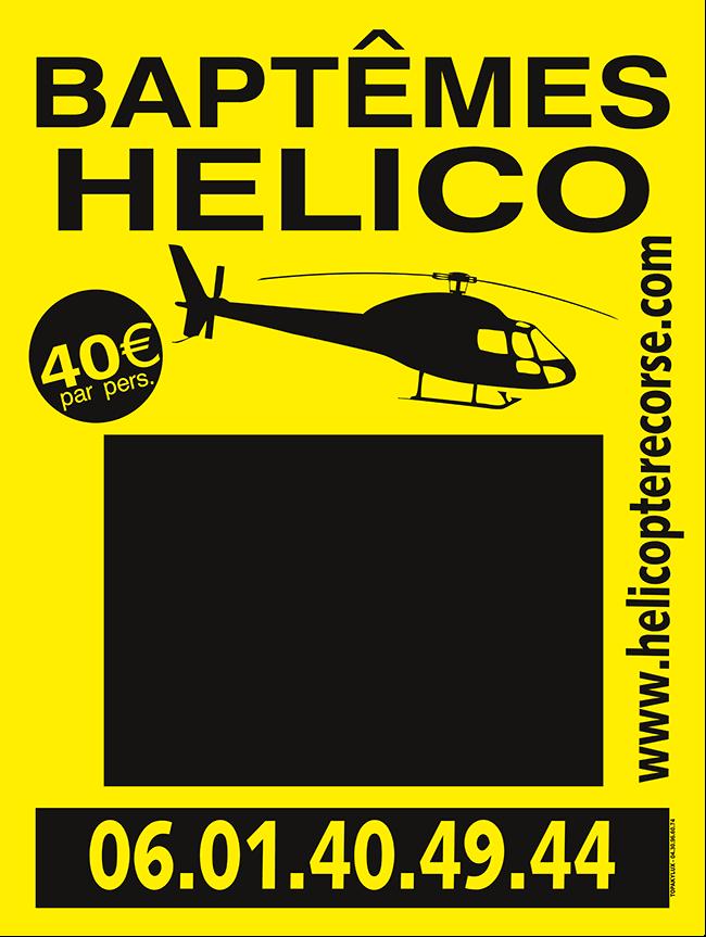 Panneau aquilux bâpteme d'helicopter, evenementiel 60x80cm