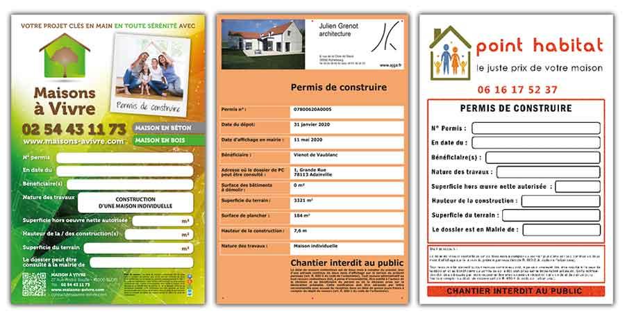 Panneau permis de construire, déclaration préalable personnalisée